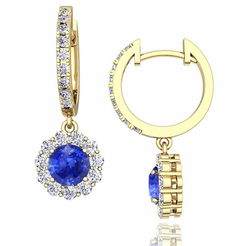 Halo Diamond and Ceylon Sapphire Hoop Earrings in 18k Gold, 5mm