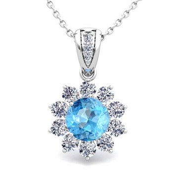 Halo Diamond and Blue Topaz Pendant in 14k Gold Necklace 6mm