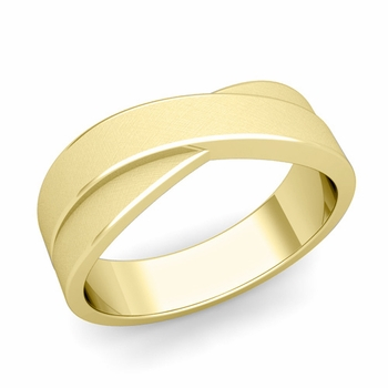 Infinity Wedding Band in 18k Gold Brushed Finish Comfort Fit Ring, 7mm