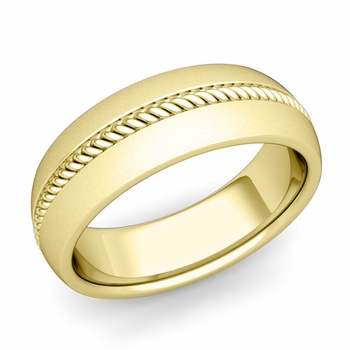 Cable Comfort Fit Wedding Band Ring in 18k Gold, Satin Finish, 7mm