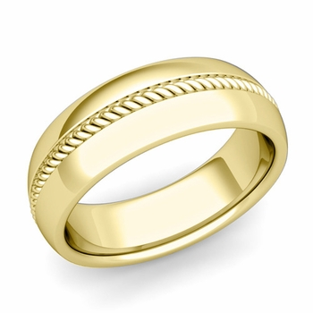 Cable Comfort Fit Wedding Band Ring in 18k Gold, Polished Finish, 7mm