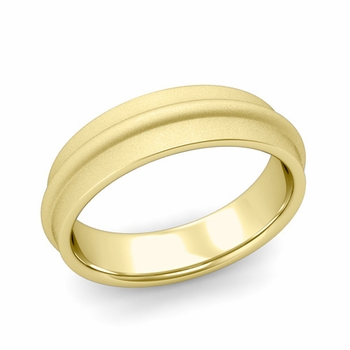 Ridged Wedding Band in 18k Gold Satin Finish Comfort Fit Band, 6mm