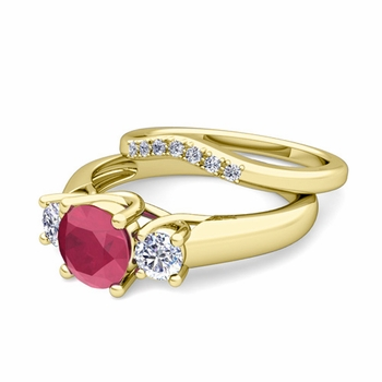 Trellis Diamond and Ruby Three Stone Ring Bridal Set in 18k Gold, 6mm