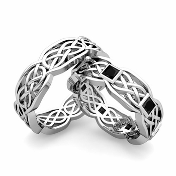 Matching Princess Cut Black Diamond Celtic Knot Wedding Ring Band in Platinum