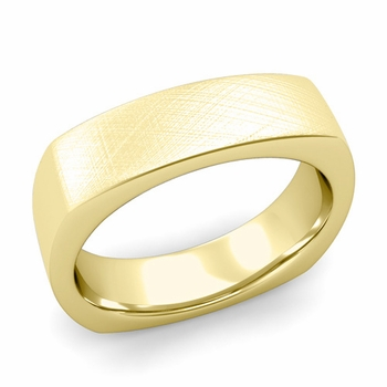 Square Comfort Fit Wedding Ring in 18K Gold Mixed Brushed Band, 6mm