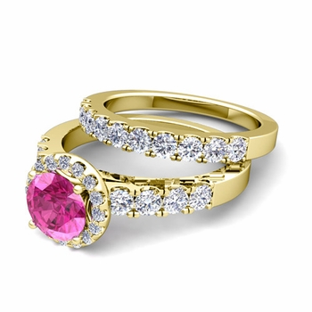 Halo Bridal Set: Pave Diamond and Pink Sapphire Wedding Ring Set in 18k Gold, 7mm