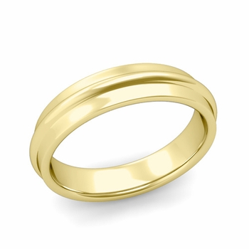 Ridged Wedding Band in 18k Gold Polished Finish Comfort Fit Band, 5mm