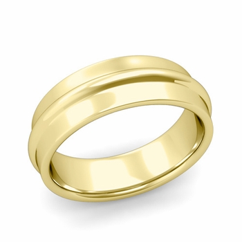 Ridged Wedding Band in 18k Gold Polished Finish Comfort Fit Band, 7mm