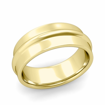 Ridged Wedding Band in 18k Gold Polished Finish Comfort Fit Band, 8mm