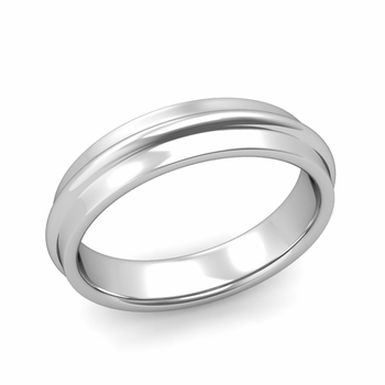 Ridged Wedding Band in Platinum Polished Finish Comfort Fit Band, 5mm