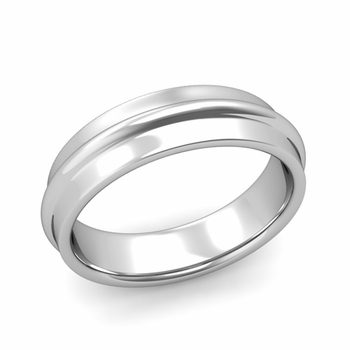 Ridged Wedding Band in Platinum Polished Finish Comfort Fit Band, 6mm