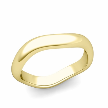 Curved Polished Finish Wedding Ring in 18k Gold Comfort Fit Band, 4mm