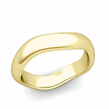 Curved Polished Finish Wedding Ring in 18k Gold Comfort Fit Band, 5mm