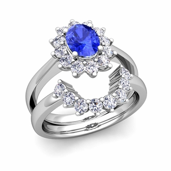Diamond and Ceylon Sapphire Diana Engagement Ring Bridal Set in Platinum, 7x5mm