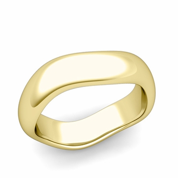 Curved Polished Finish Wedding Ring in 18k Gold Comfort Fit Band, 6mm