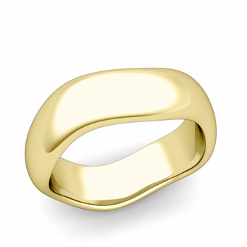 Curved Polished Finish Wedding Ring in 18k Gold Comfort Fit Band, 7mm