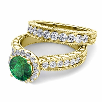 Vintage Inspired Diamond and Emerald Engagement Ring Bridal Set in 18k Gold, 7mm