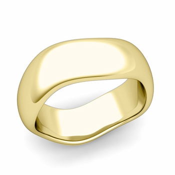 Curved Polished Finish Wedding Ring in 18k Gold Comfort Fit Band, 8mm