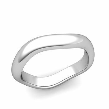 Curved Polished Finish Wedding Ring in Platinum Comfort Fit Band, 4mm