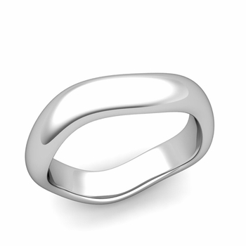 Curved Polished Finish Wedding Ring in Platinum Comfort Fit Band, 5mm