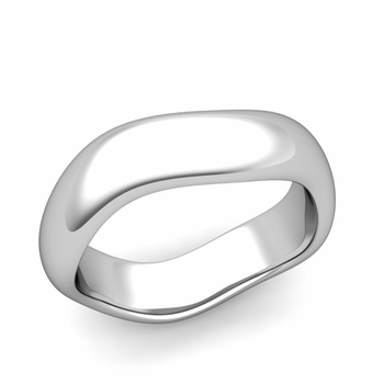 Curved Polished Finish Wedding Ring in Platinum Comfort Fit Band, 6mm