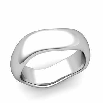 Curved Polished Finish Wedding Ring in Platinum Comfort Fit Band, 7mm
