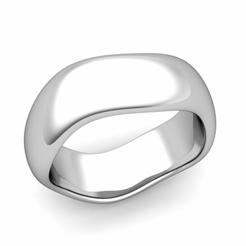 Curved Polished Finish Wedding Ring in Platinum Comfort Fit Band, 8mm