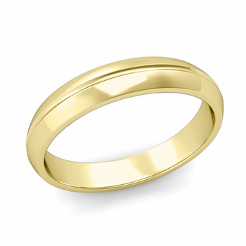 Carved Comfort Fit Wedding Ring in 18K Gold Polished Band, 4mm