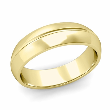 Carved Comfort Fit Wedding Ring in 18K Gold Polished Band, 6mm