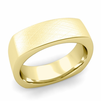Square Comfort Fit Wedding Ring in 18K Gold Mixed Brushed Band, 7mm