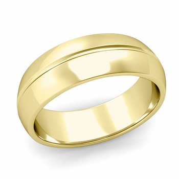 Carved Comfort Fit Wedding Ring in 18K Gold Polished Band, 7mm