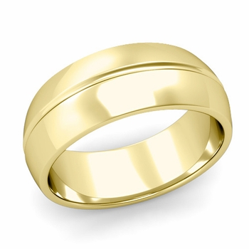 Carved Comfort Fit Wedding Ring in 18K Gold Polished Band, 8mm