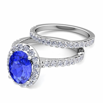 Bridal Set: Pave Diamond and Ceylon Sapphire Engagement Wedding Ring in Platinum, 9x7mm