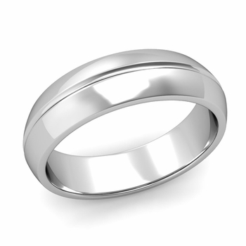 Carved Comfort Fit Wedding Ring in Platinum Polished Band, 6mm