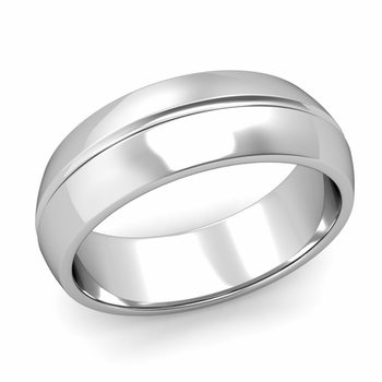 Carved Comfort Fit Wedding Ring in Platinum Polished Band, 7mm