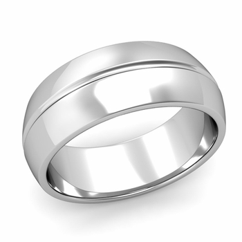 Carved Comfort Fit Wedding Ring in Platinum Polished Band, 8mm