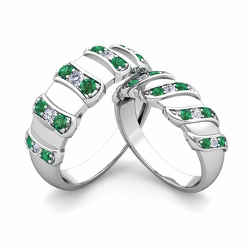Matching Wedding Band in 14k Gold Twisted Diamond and Emerald Wedding Rings