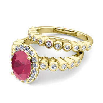 Halo Bridal Set: Bezel Diamond and Ruby Wedding Ring Set in 18k Gold, 9x7mm