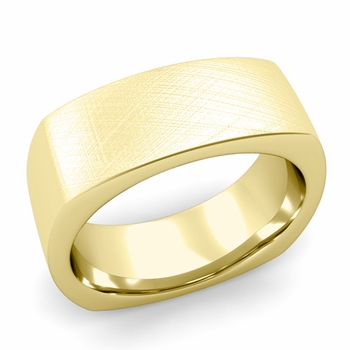 Square Comfort Fit Wedding Ring in 18K Gold Mixed Brushed Band, 8mm
