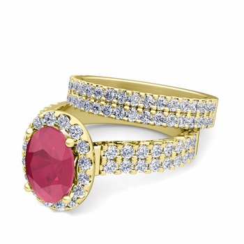 Two Row Diamond and Ruby Engagement Ring Bridal Set in 18k Gold, 7x5mm