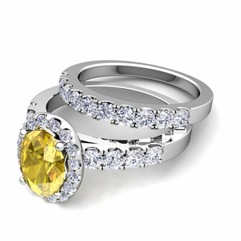 Halo Bridal Set: Pave Diamond and Yellow Sapphire Wedding Ring Set in 14k Gold, 7x5mm