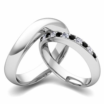 Matching Wedding Band in 14k Gold Curved Black and White Diamond Ring