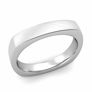 Square Comfort Fit Wedding Ring in Platinum Mixed Brushed Band, 4mm