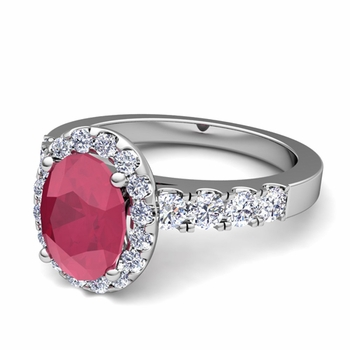 Brilliant Pave Set Diamond and Ruby Halo Engagement Ring in Platinum, 7x5mm