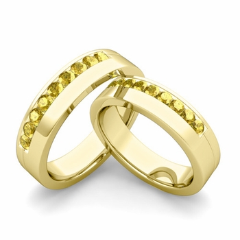Matching Wedding Bands: Channel Set Yellow Sapphire Wedding Rings in 18k Gold