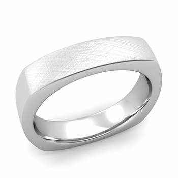 Square Comfort Fit Wedding Ring in Platinum Mixed Brushed Band, 5mm