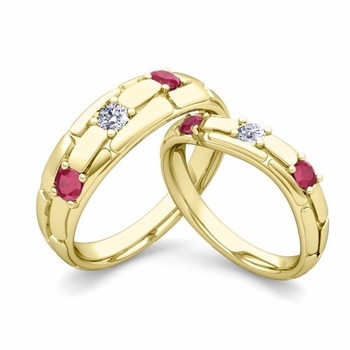 Matching Wedding Band: His and Hers Diamond and Ruby Wedding Band in 18k Gold