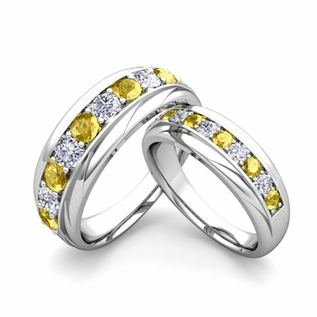 Matching Wedding Band in Platinum Brilliant Diamond Yellow Sapphire Wedding Rings