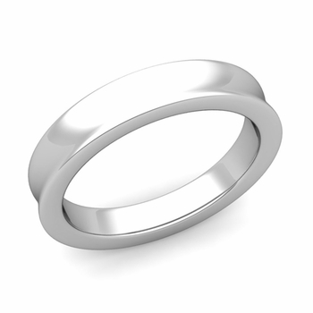 Contour Wedding Band in 14k Gold Comfort Fit Ring, 4mm