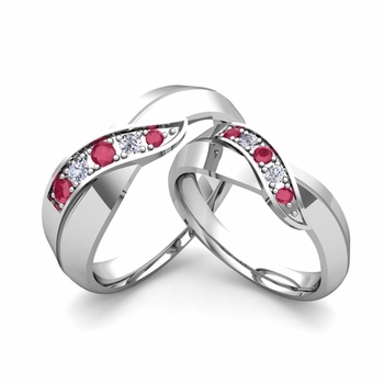Matching Wedding Band in Platinum Infinity Diamond and Ruby Wedding Rings